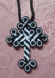 Large Egyptian Coptic leather cross pendant made by the monks