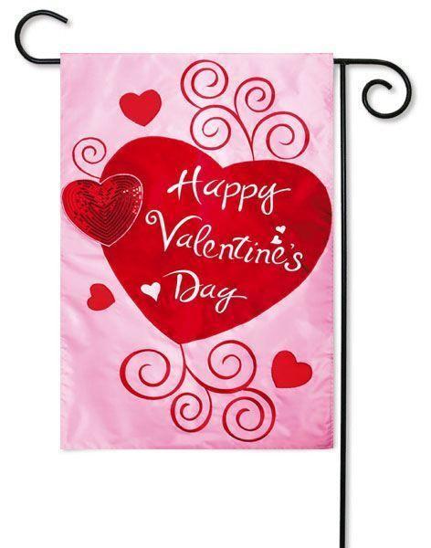 Scroll Hearts Applique Valentine Garden Flag.