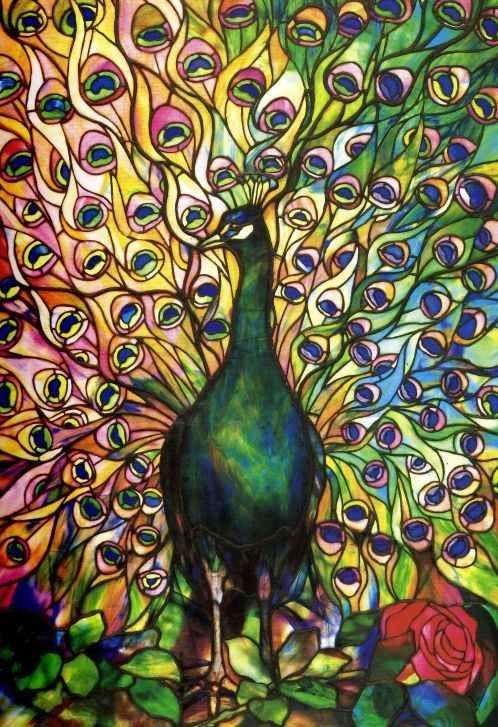 pre raphaelite art peacock stained glass tiffany got. Black Bedroom Furniture Sets. Home Design Ideas