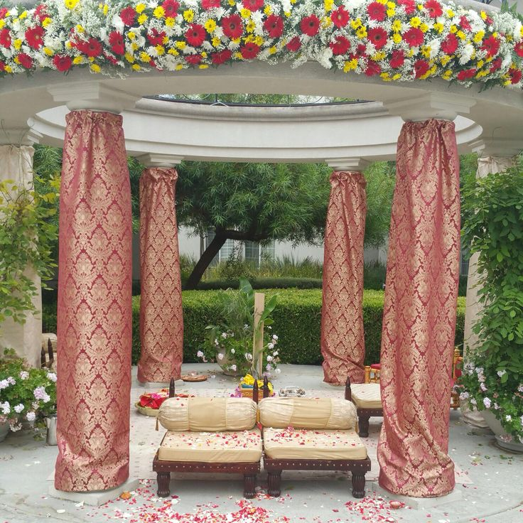 an R&R Original, Mandap Decor. For Indian Wedding Decorations in the Bay Area, California; Contact R&R Event Rentals, Located in Union City & serving the Bay Area and Beyond.