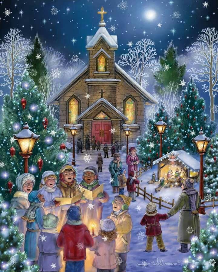Kerstliederen zingen  bij de kerk.