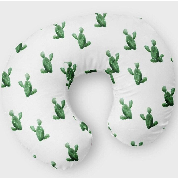 Cactus boppy cover white and watercolor greens #watercolor #boho #boppycover #green #cactus #gift #baby
