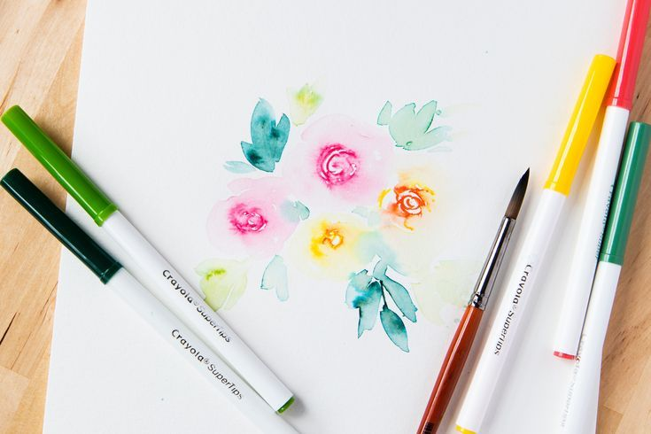 Video Tutorial Watercolor Flowers With Crayola Markers Refine