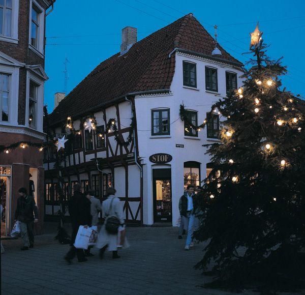 Christmas in Pedestrian Street, Aalborg, North Jutland