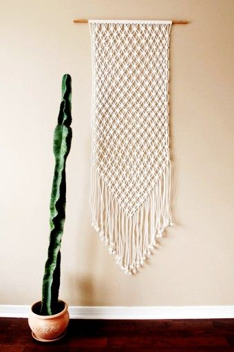 Large White Macrame Wall Hanging Woven and Cactus - wall ...