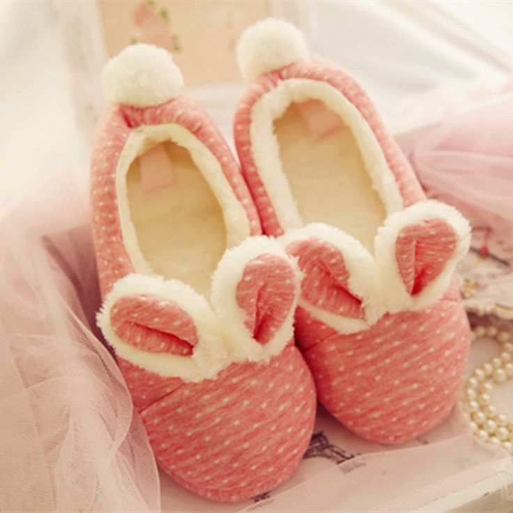 Home Shoes Polka Dot Rabbit Cute Hairy Ears Cotton Indoor Chaussons Femme Schoenen Pantuflas Pink Slippers Women Pantofole Donna