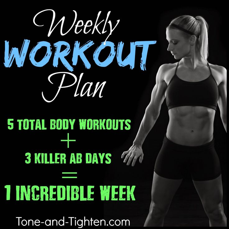 5 days of total-body workouts combined with 3 days of amazing ab routines. Get your Weekly Workout Plan from Tone-and-Tighten.com #workout #fitness