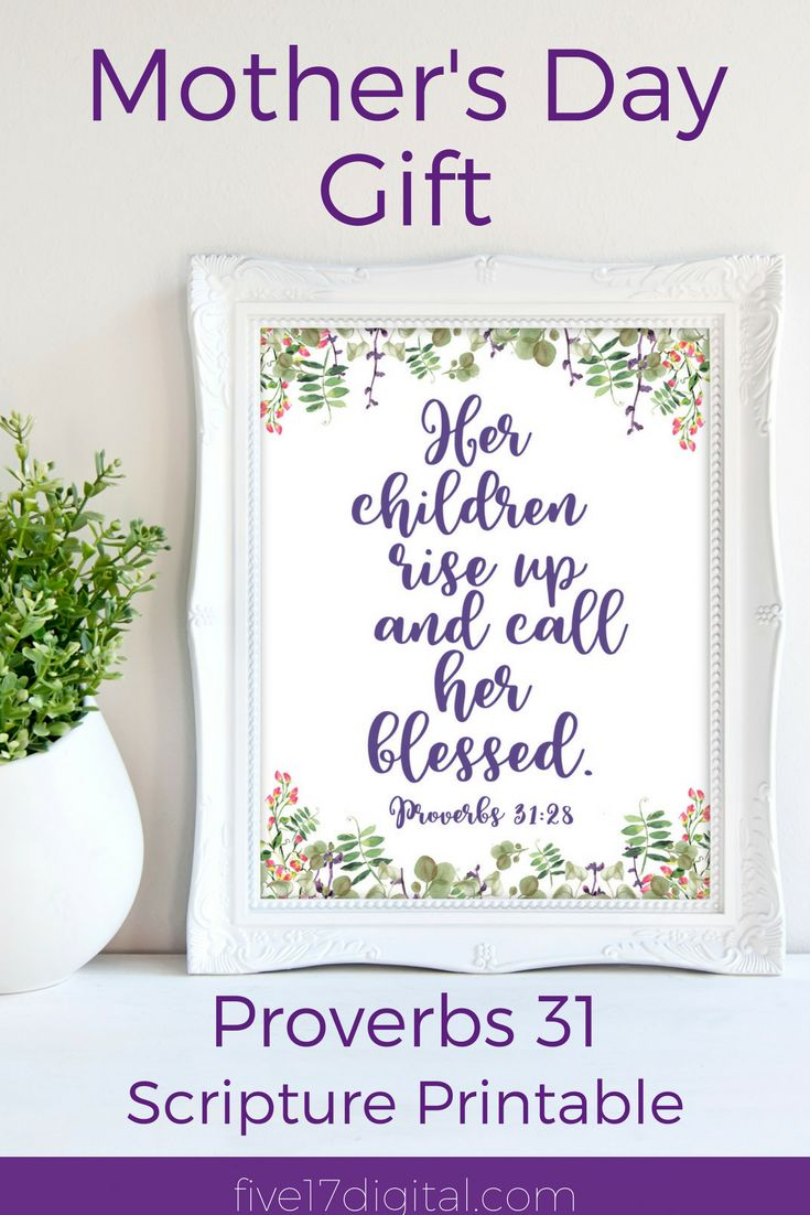 This ultra violet wall art print featuring the Scripture from Proverbs 31:28 is a great addition to any Christian home. It would make a fabulous gift for mom to show her how much you appreciate her.