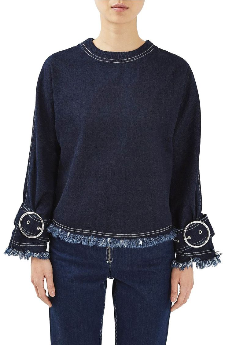 Main Image - Topshop Boutique Buckle Sleeve Denim Shirt