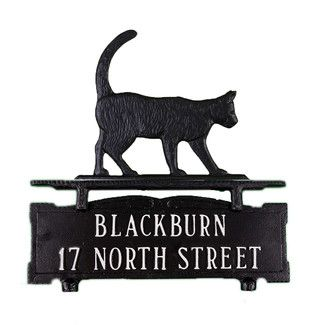 <strong>Montague Metal Products</strong> Two Line Mailbox Address Sign with Cat