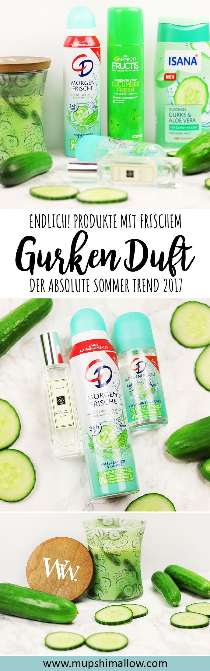 Fragt ihr euch manchmal warum es manche tollen Gerüche nicht als Duft für den Alltag gibt? So ging es mir lange mit Gurkenduft. Frische, saftige aufgeschnittene Gurke - lecker! Endlich wurde dieser Trend von der Beauty Industrie aufgegriffen und mittlerweile gibt es viele tolle Produkte mit Gurkenduft, wie Parfum, Deo, Duschgel, Trockenshampoo oder sogar Duftkerzen mit Gurkenduft. Der Sommer Trend 2017!