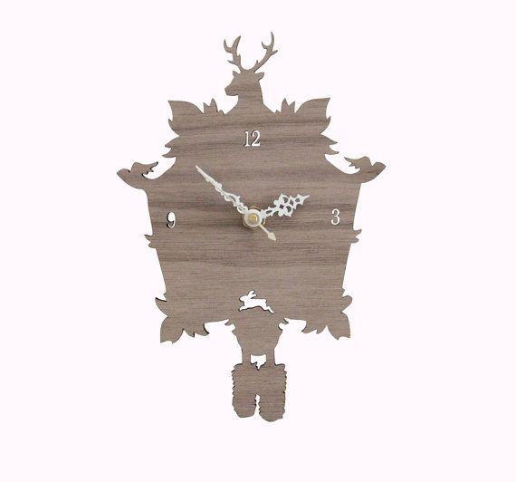Cuckoo Clock SALE   Modern Wood Wall Clock by iluxo on Etsy, $40.00