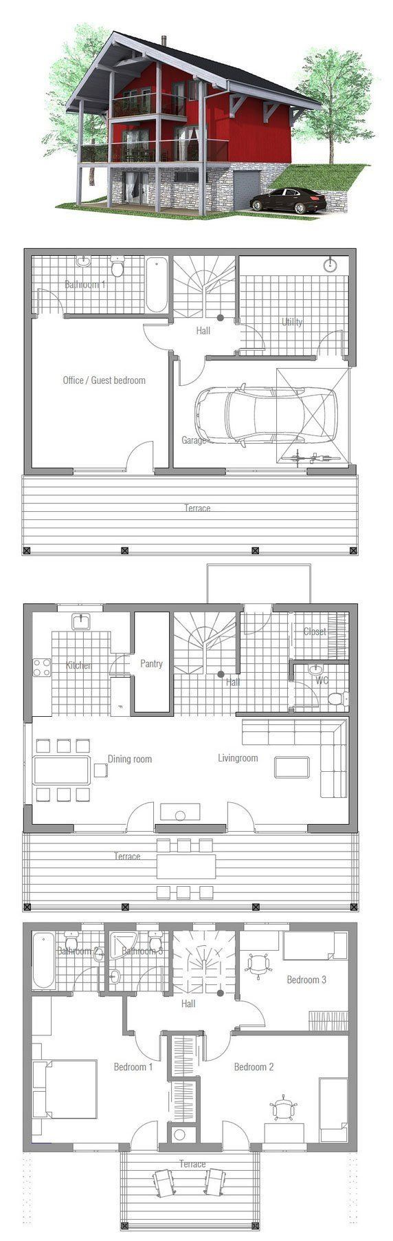I absolutely love everything about this floor plan, i would just change a few things to make it more spacious. A two car garage, and a huge master bedroom.