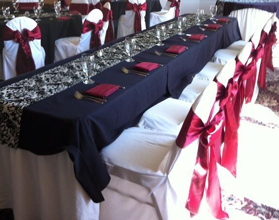 Burgandy Black White And Silver Wedding