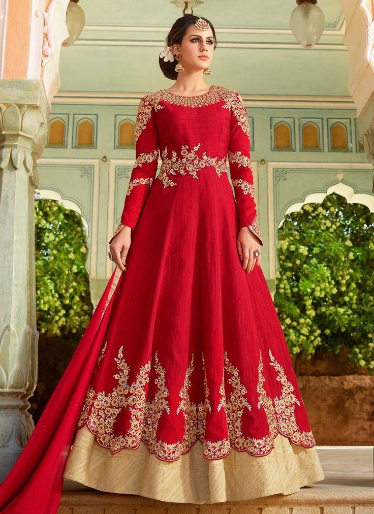 Buy designer salwar kameez online. Shop wide range of salwar kameez. Shop this art silk red floor length anarkali suit.