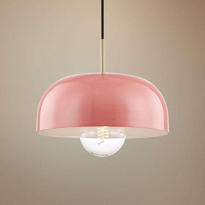 Mitzi Avery 14 Wide Aged Brass Pendant Light W Pink Shade