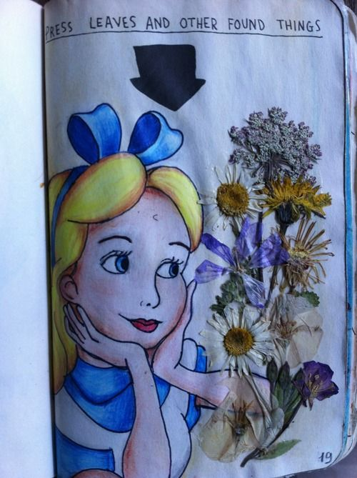 Press leaves and other things. Alice in Wonderland.  This is cool! Or a porcupine smelling the flowers!