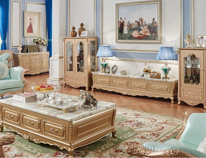 Living Room Wood Carving Tv Cabinet