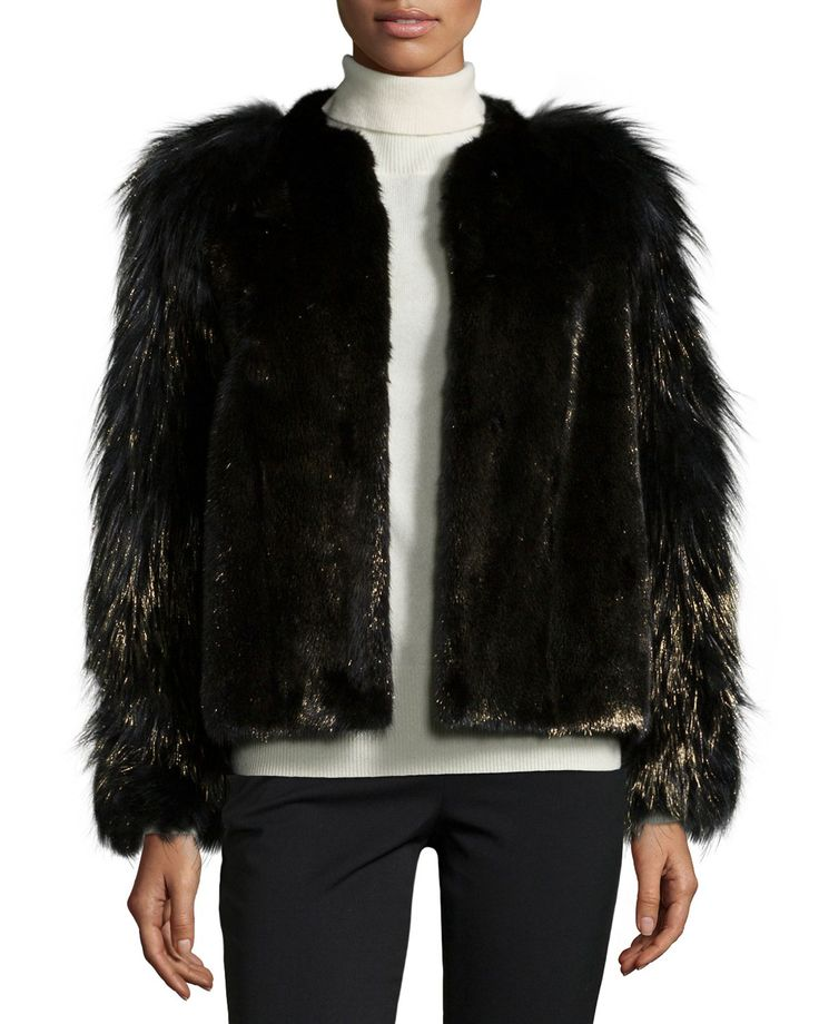 Metallic Mink & Fox Fur Jacket, Black/Gold