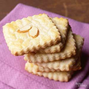 These almond cookies are pretty enough to give as a holiday gift./