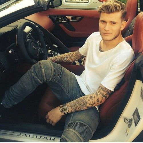Loris Karius - professional footballer, great car, great tattoos, great face. We're putting in a transfer request