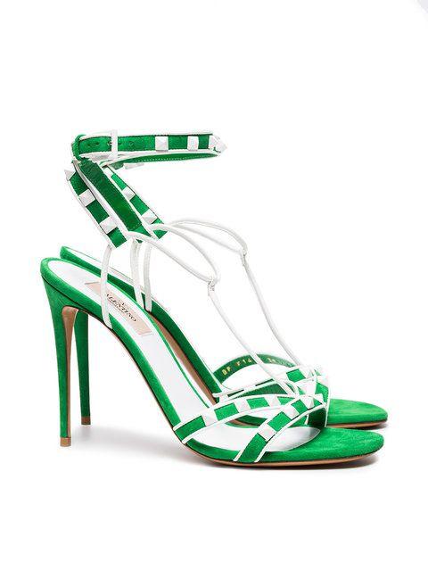 d96c31e196 Valentino Green Free Rockstud 105 Suede Sandals - Farfetch   HEELS ...
