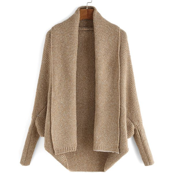 Lapel Batwing Sleeve Knit Cardigan ($21) ❤ liked on Polyvore featuring tops, cardigans, jackets, casacos, outerwear, khaki, khaki cardigan, loose long sleeve tops, long sleeve tops and batwing sleeve cardigan