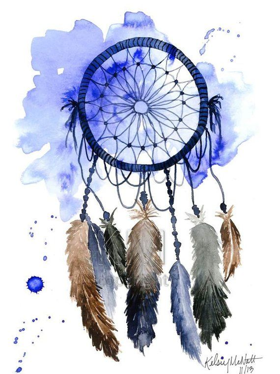 Dream Catcher 1 Watercolor Painting Home Decor Native Watercolor Dreamcatcher Dream Catcher Painting Native American Wall Art