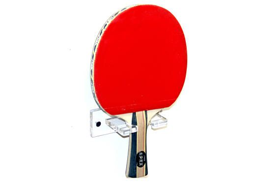 Deluxe Clear Acrylic Vertical Ping Pong Paddle Wall Mount Bracket A052 Ping Pong Clear Acrylic Displaying Collections