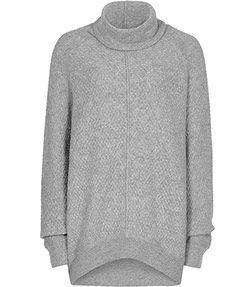 Fifer Soft Grey Melange Textured Roll-neck Jumper - REISS