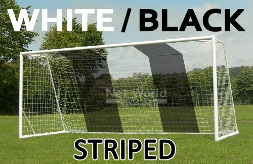 STRIPED SOCCER GOAL NET - White/Black- Official FULL SIZE FIFA Spec - 24x8 / 24' x 8' by NET. $58.00. 24ft x 8ft Soccer Goal Net White/Black Striped. Official Full Size goal net for teenagers and adults. Ideal for home made goals and will fit almost all existing 24x8 soccer goals.. Save 52%!