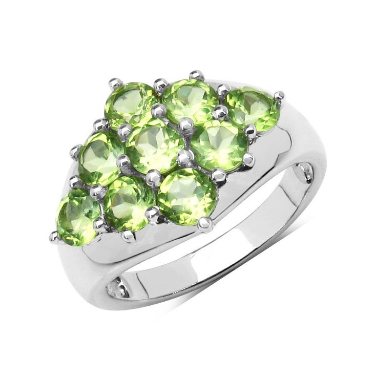 2.25ctw Genuine Peridot, .925 Solid Sterling Silver Ring