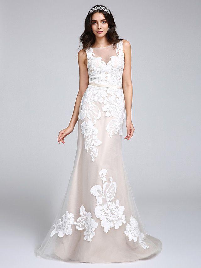 Lanting Bride® Sereia Vestido de Noiva Cauda Escova Canoa Tule com Com Apliques / Botão - EUR €127.39