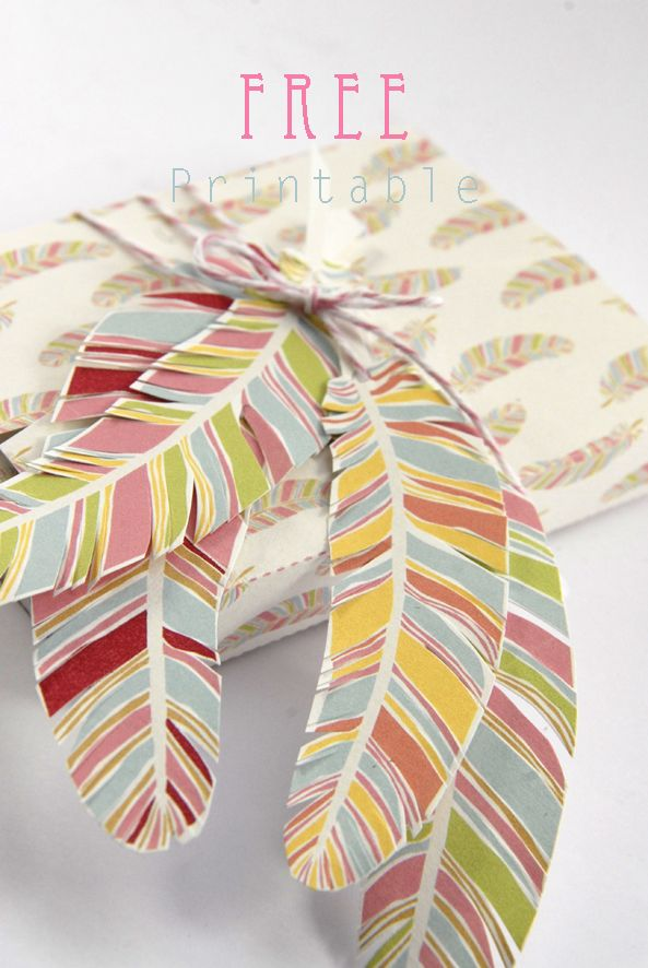 print these colorful feathers to add as an embellishment to your giftwrap, free printable gift box feather pattern