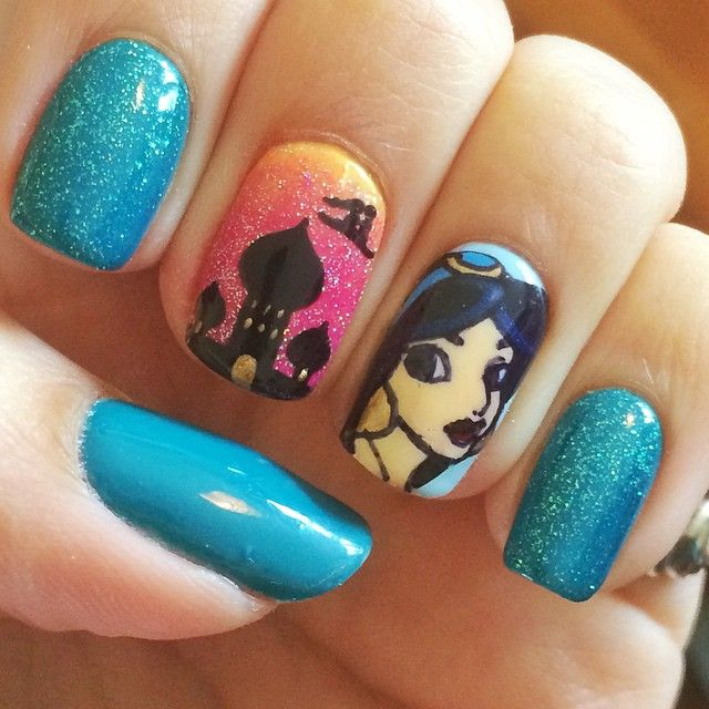 Princess Jasmine Nails Inspired By Disney S Aladdin Nailakeup In 2018 Pinterest And
