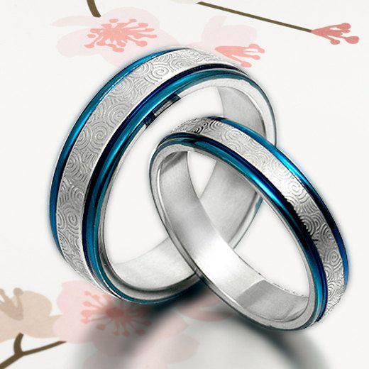 Blue Hand Make His & Hers Matching Pattern Wedding Engagement Anniversary Titanium Rings Set Court Shape. $165.00, via Etsy.