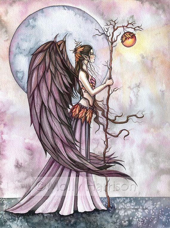 Gothic Angel Fairy Fine Art Print 'Autumn by MollyHarrisonArt, $14.00  see their online store here:  http://www.etsy.com/shop/MollyHarrisonArt?ref=seller_info