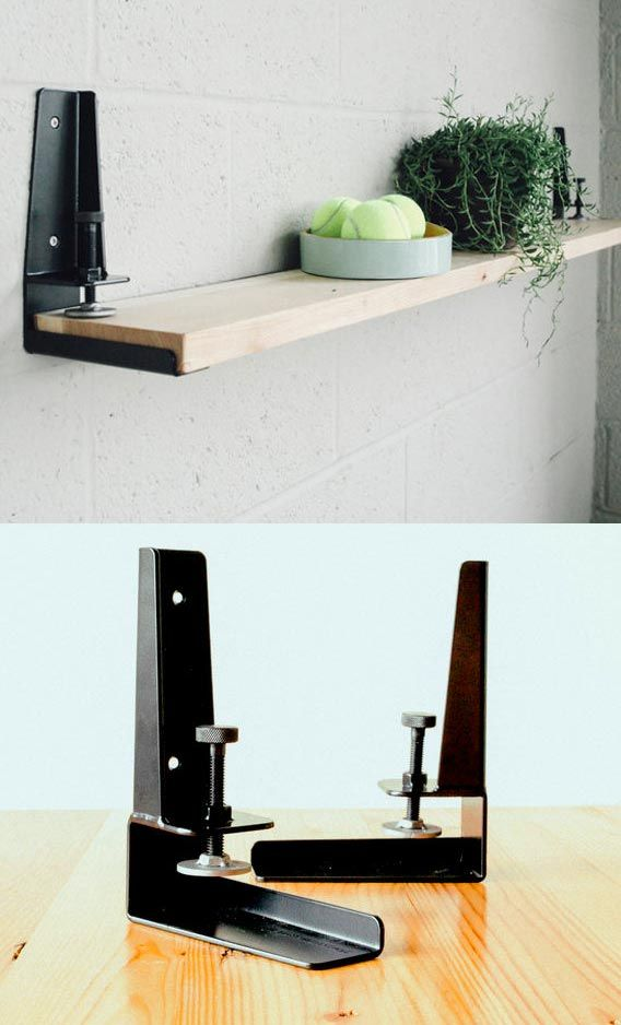 The Floyd Shelf creates a shelf from any flat surface by installing the brackets & clamping to the material.
