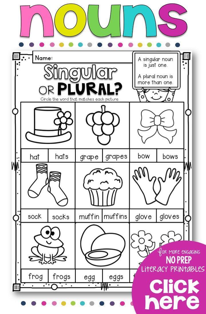 Nouns no prep printables singular plural nouns plural