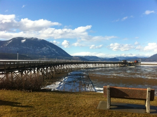 Salmon Arm wharf in the early spring is a good place to meditate while looking out at the lake.