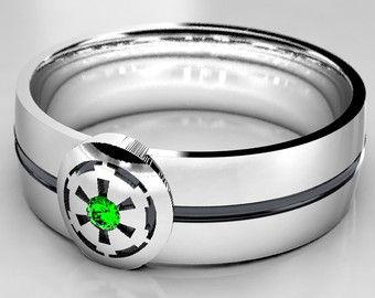 star wars empire silver geek wedding ring silver wedding band with emerald size 9 ring size 10 ring size 8 ring mens emerald ring - Nerdy Wedding Rings