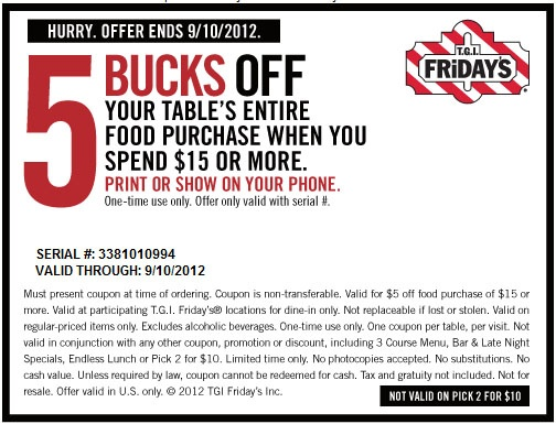 If you've got a craving for TGI Friday's, save yourself a little extra money using one of these 5 coupons in December. To bring you the best discounts possible, this list of offers is always being updated. Coupon Sherpa is not affiliated with or endorsed by TGI Friday's.