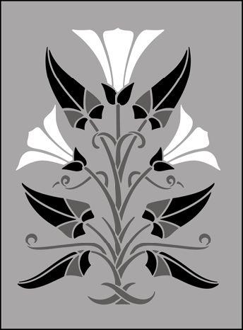 Art Nouveau Motif No 76 stencils, stensils and stencles