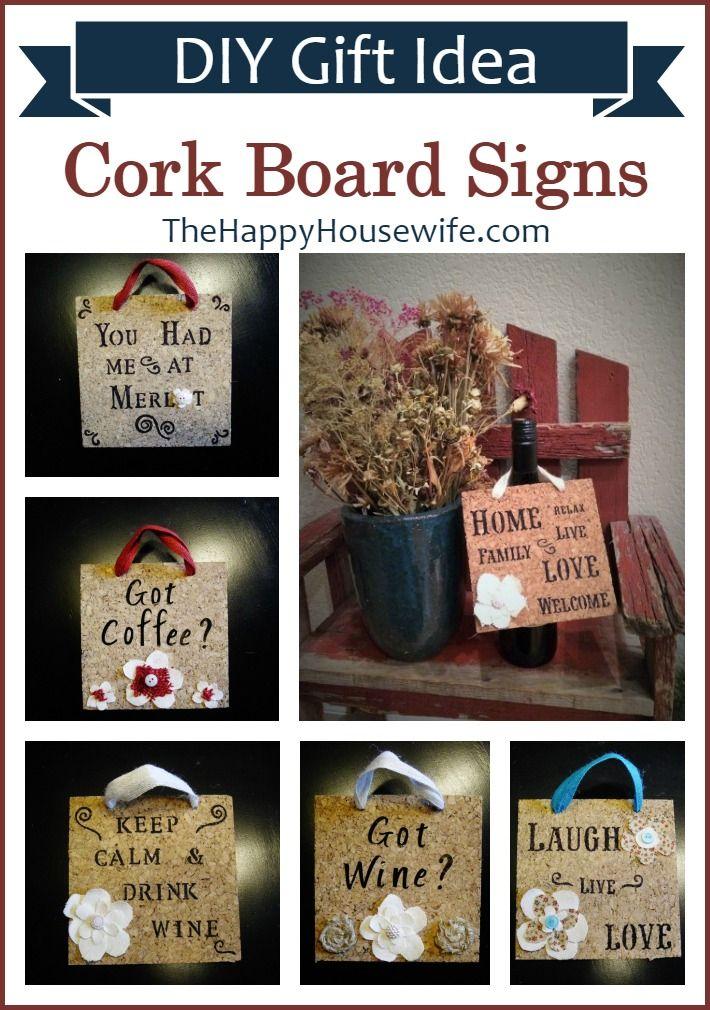 Cork Board Signs - DIY Gift Idea