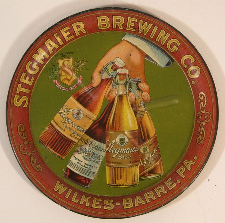 STEGMAIER BREWING CO BEER SERVING TRAY WILKES BARRE