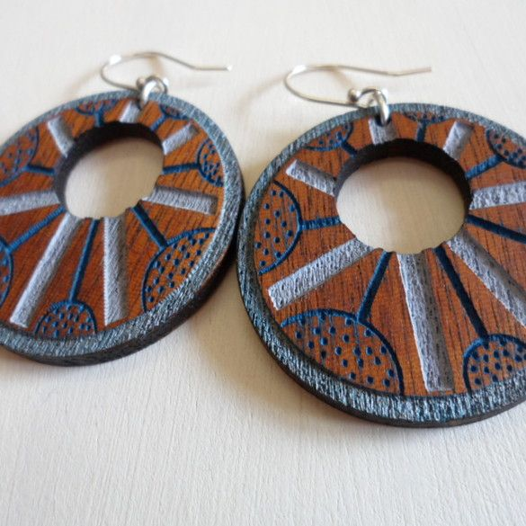 ZingyB | Hello Pretty. Buy design. Wooden Earrings Handpainted Lasercut