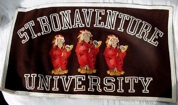 This is a vintage felt banner from St. Bonaventure University College in Olean, NY. It was made by Collegiate of Ames, Iowa. The banner was rolled up in the original paper when found at an estate sale