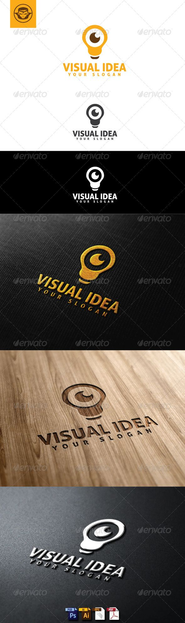 Visual Idea Logo Template  #GraphicRiver         Visual Idea Logo Template is An excellent logo template highly suitable for for logo company, office, organization,web, start up, studio   These files consists of resizable vector format files like AI, EPS , and PDF .   Also PSD format for raster version alternative.   font used Aller     Created: 4July13 GraphicsFilesIncluded: PhotoshopPSD #VectorEPS #AIIllustrator Layered: Yes MinimumAdobeCSVersion: CS Resolution: Resizable Tags: branding…