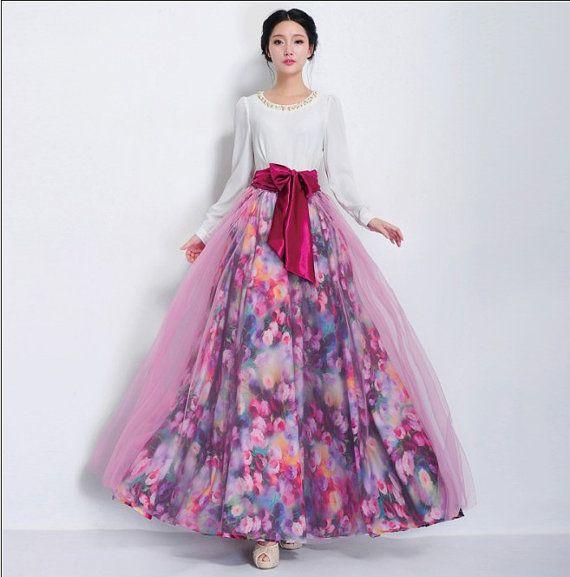 Floral Print Full Pleated Skirt Pink Organza Beach Boho A ...