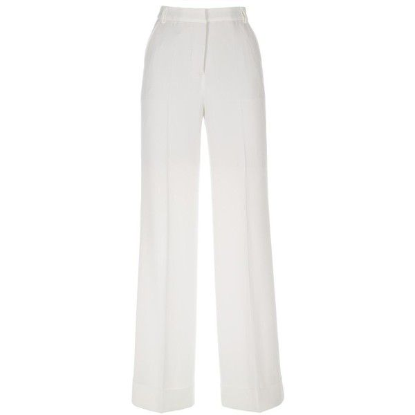 Paul Smith Off-White Wide Leg Trousers (2,165 PEN) ❤ liked on Polyvore featuring pants, zip pants, paul smith pants, zipper pants, paul smith trousers and summer pants